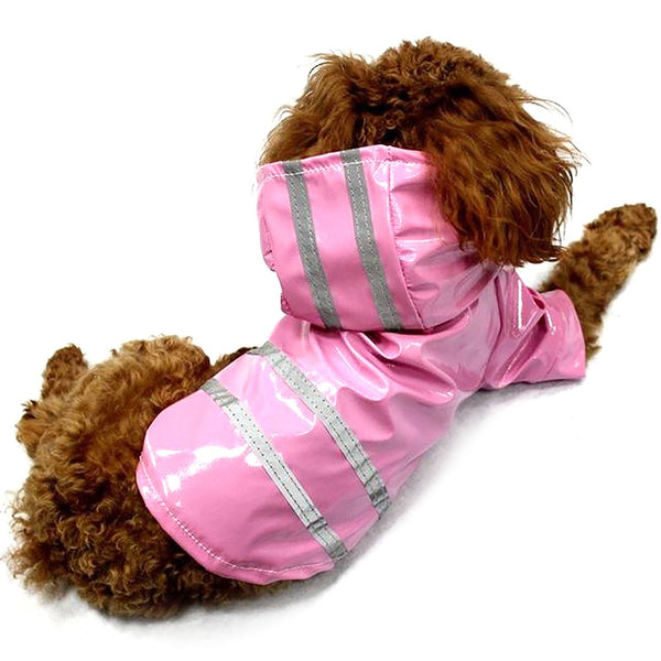 100% Waterproof Dog Raincoat Reflective Strip Pet Clothes Glisten For Small Medium Puppy Hooded 4Color