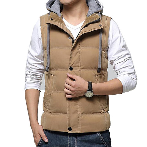 Casual Men Vest Slim Fit 2017 Hot Sale Waistcoat Hat Detachable Hooded Winter Warm Windbreak Khaki M- 4XL 4 Colors