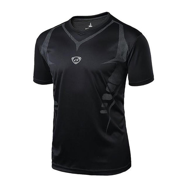 LUCKY SAILING Men Quick Dry Wicking Running T-shirts Breathable Sports Fitness Gym Shirt Tops
