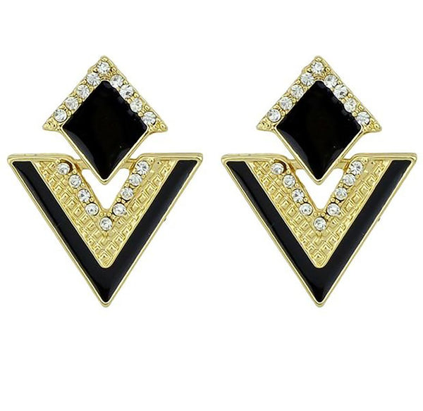 Women's Drop Triangle Earrings Colorful Enamel Rhinestone Party Geometric Accesories Jewerly
