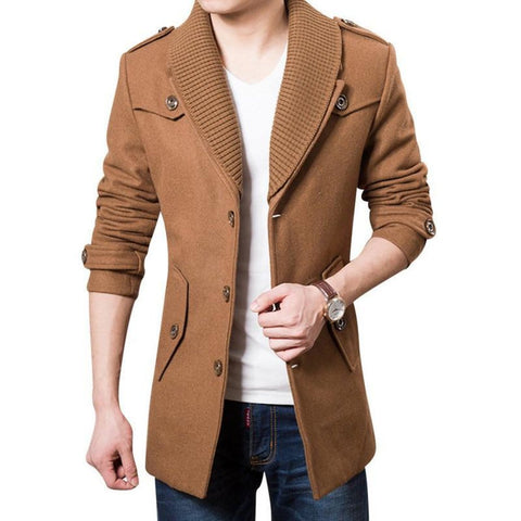 2016 Business Men Casual Warm Coats Size M-3XL Good Quality Single Breasted Design Thicken Man Fashion Wool Clothings