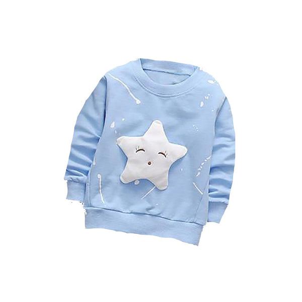 Unisex Baby's Cotton T-shirt Sport Long Sleeve Star Pattern