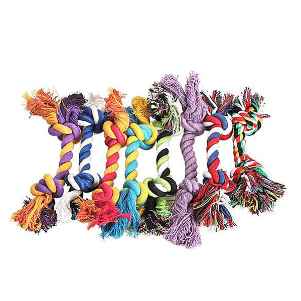 Pet's Cotton Chew Knot Toy Durable Braided Bone Rope Random Color 15cm