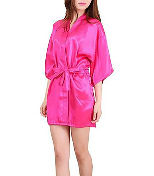 Women's Robe Faux Silk Short Sleeves Satin Summer Solid Knee-length