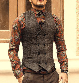 Men's Slim Vest Cotton Wool Double Breasted Formal Business