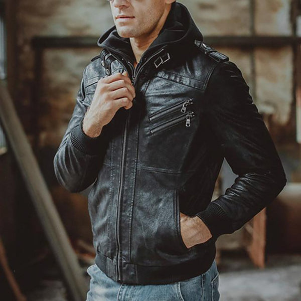 Men's Leather Jacket Pigskin Hooded Casual Removable Zipper Winter