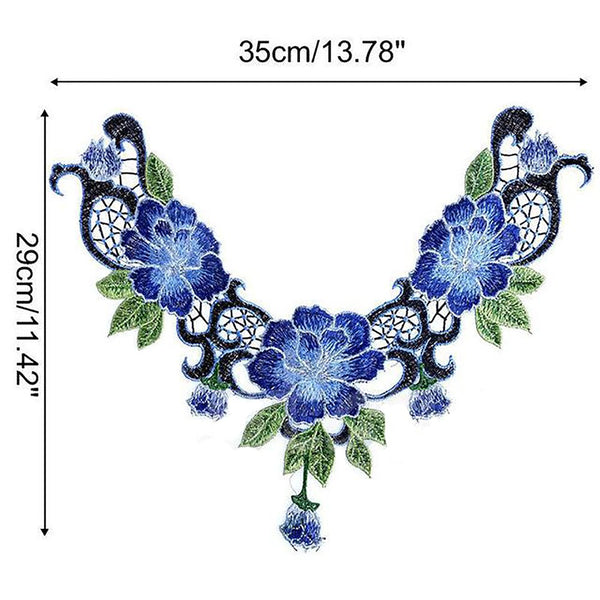New Hot Lace Embroidered Venise Floral Neckline Neck Collar Trim Clothes Sewing Applique
