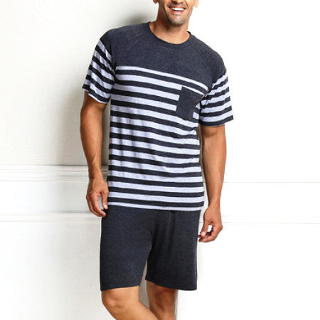 Qianxiu Pajama For Men Summer Modalpajama Set Women Sleepshirts Couples Stripes Sleepwear Homewear