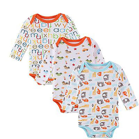 Unisex Babies Bodysuit 3 pcs/lot 100% Cotton Long Sleeve Pajamas
