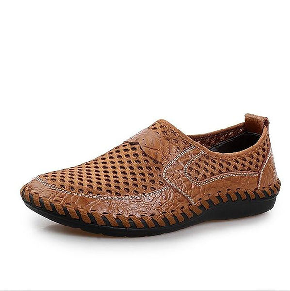 2017 Summer Breathable Mesh Shoes Mens Casual Genuine Leather Slip On Brand Fashion Man Soft Comfortable