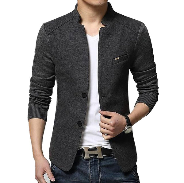 Men's Coat Regular Turn-down Collar Wool Single Breasted Casual Conventional Full Sleeves Cuff Style