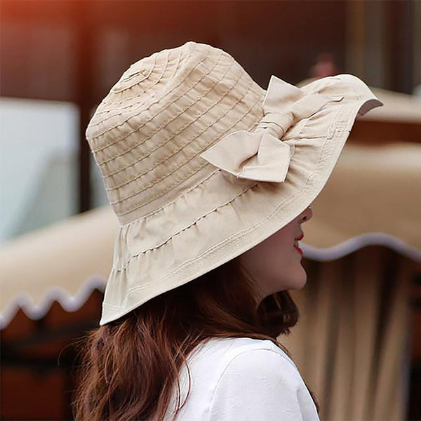 Women's Bucket Hat with Bow Denim Cotton Washed Summer Sun