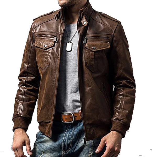 Men's Pigskin Motorcycle Real Leather Jacket Genuine Leather Jackets Padding Cotton Winter Warm Coat Men