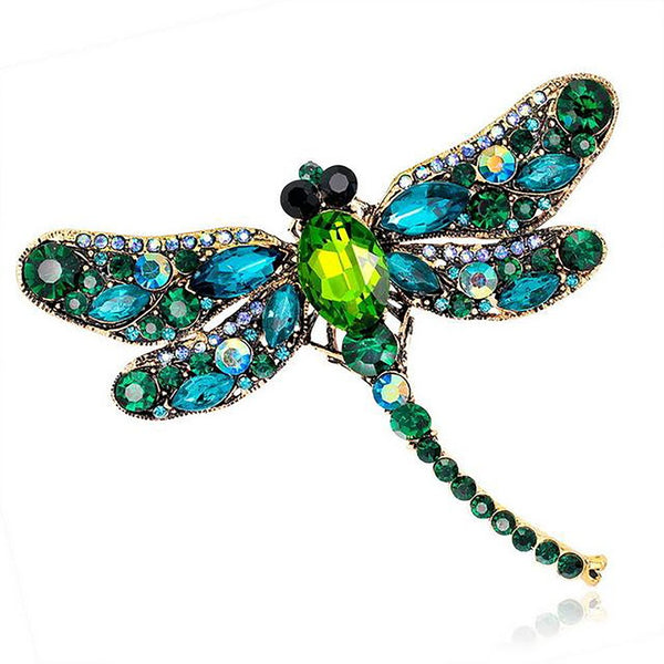 Women's Dress/Scarf Brooch Pins Vintage Design Shiny Crystal Rhinestone Dragonfly Jewerly Accesories