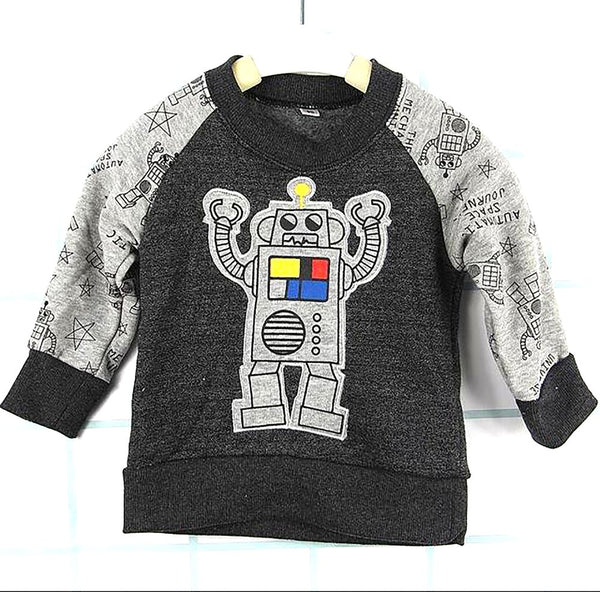 New 2017 Baby Boys Nova Kidscotton Long Sleeve Children Robot Modeling Cartoon 0-2 Years Newborn Clothing