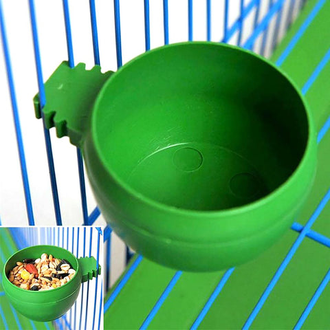 Plastic Round Bird Parrot Aviary Pet Cage Water Food Feeder Feeding Bowl