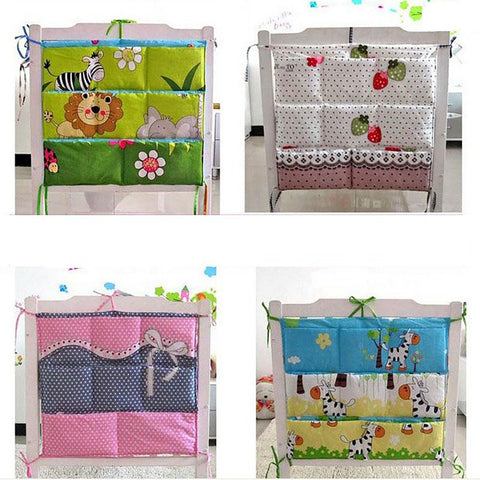 Cartoon Rooms Nursery Hanging Storage Bag Baby Cot Bed Crib Organizer60*52cm Toy Diaper Pocket for Newborn Bedding Set
