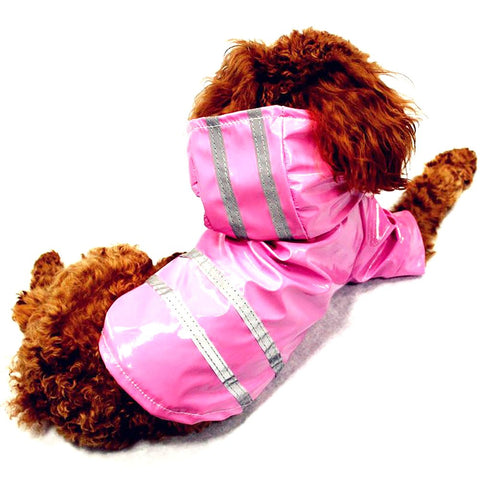 Dog's Raincoat Waterproof Reflective Strip Glisten Small Medium Hooded