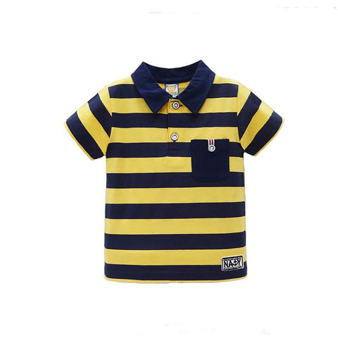 Unisex Kid's Summer T-shirt Short Striped Pure Cotton Summer