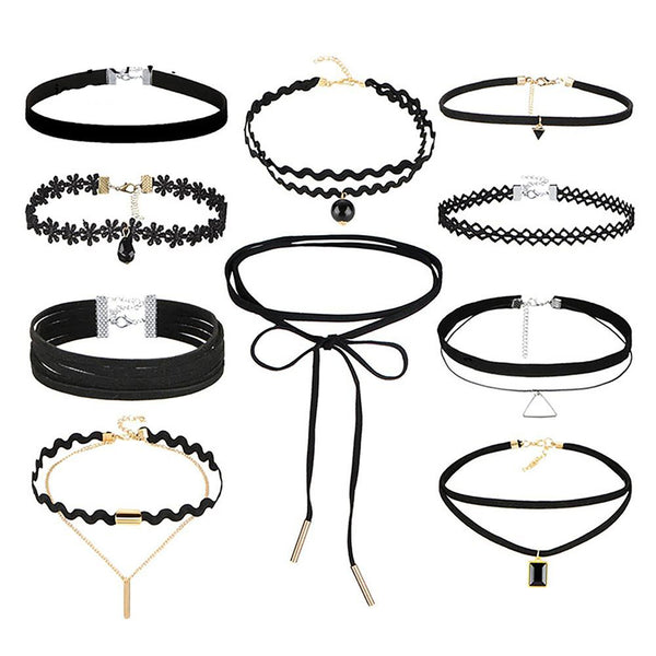 Women's Gothic Choker 10 pcs/set Lace and Leather Necklaces