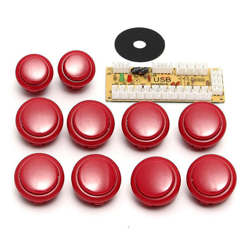 Joystick Handle Set Spare Parts Push Buttons USB Cable to PC Button Encoder