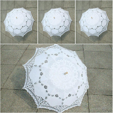 Parasol Umbrella Embroidery Lace Classic Palace Style Long Arm Wedding Bridal