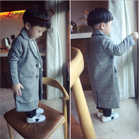 Unisex Children's Long Coat V-neck Grid Winter Overcoat Autumn Warm Outerwear