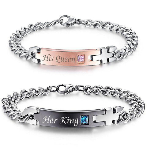 "Drop Shipping Unique Gift for Lover ""His Queen""""Her King "" Couple Bracelets Stainless Steel For Women Men Jewelry"