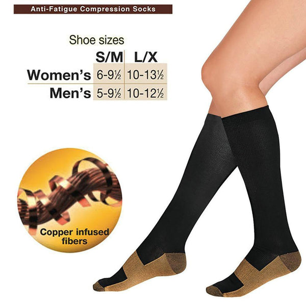 Unisex Adult's Compression Socks Anti-fatigue Copper Soothe Tired Achy