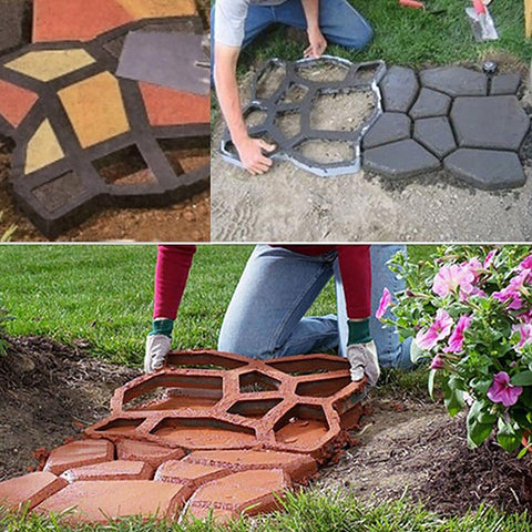 Plastic Cement Molds Stone Road Design for DIY Cement Pathway Making