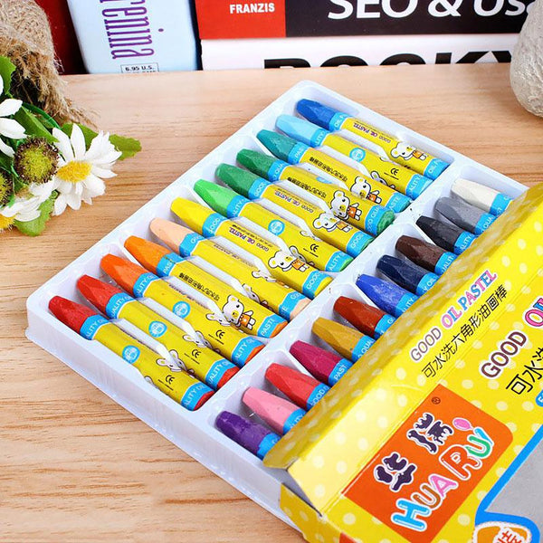24 Colors Wax Crayon Can Be Washed Oil Painting Stick Eraseable Plastic Painting for Children School Office Art Supplies