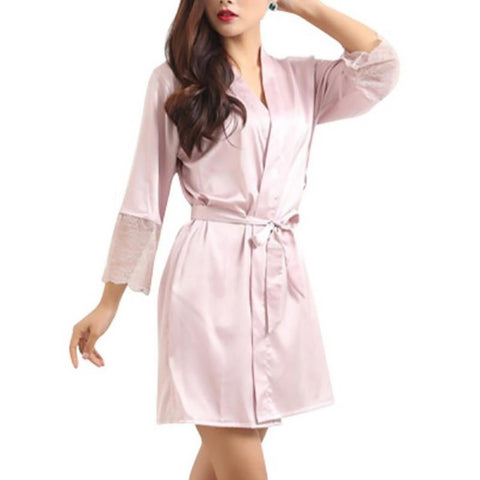 Women's Robe Silky Deep-V Lace Half Sleeve Satin Above Knee Summer