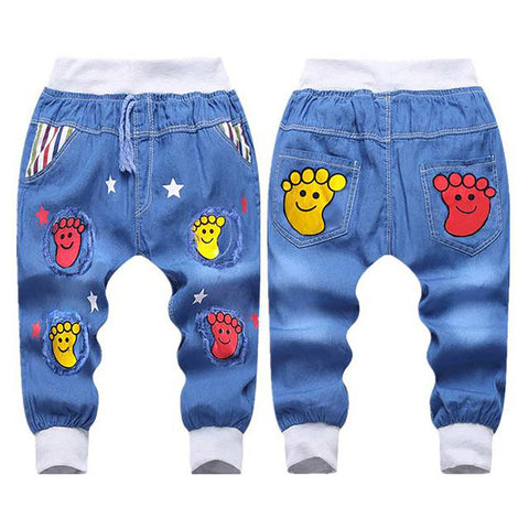 Unisex Kid's Denim Jeans Elastic Waist Summer Cartoon Printing