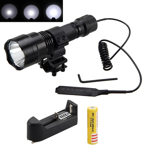 XML T6 LED Flashlight Torch mount with Pressure Switch and Battery Charger 2500lm