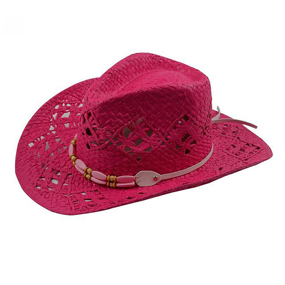 Women s Cowboy Hat Beads with Leather Belt Straw Summer Hollow ... 1169b9b08bc