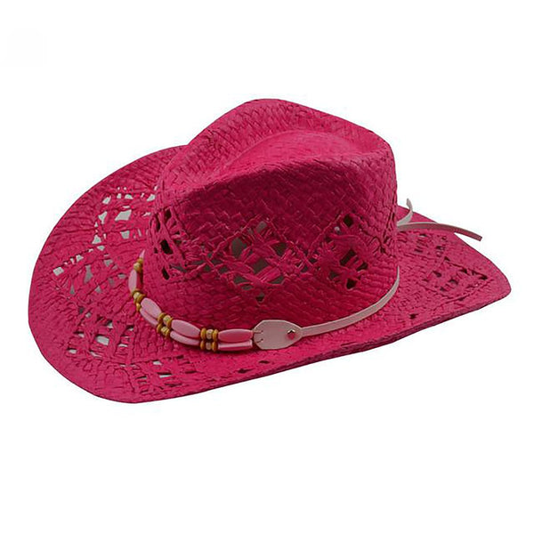 Women's Cowboy Hat Beads with Leather Belt Straw Summer Hollow Fedora Panama Style