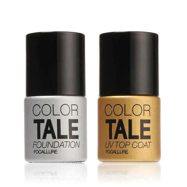FOCALLURE2Pcs/Lot UV Top Coat + Base Foundation for Gel Polish It off Long Lasting Bling Nail 12ml