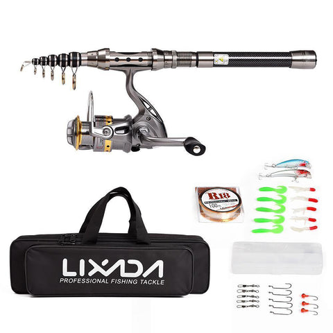 Lixada 1.5/1.8/2.1M Fishing Rod Reel Combo Full Kit Telescopic Spinning Pole Set with Line Lures Hooks Carrier Bag