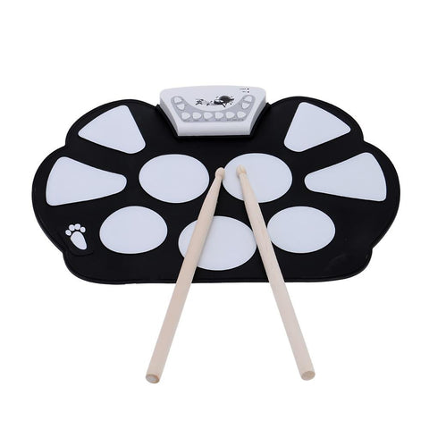 Roll Up Drum Pad Kit with Stick Portable Electronic Silicone Foldable