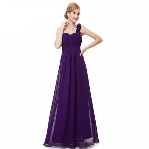 Women's Dress Flower One Shoulder Chiffon Padded Long for Wedding Bridesmaid