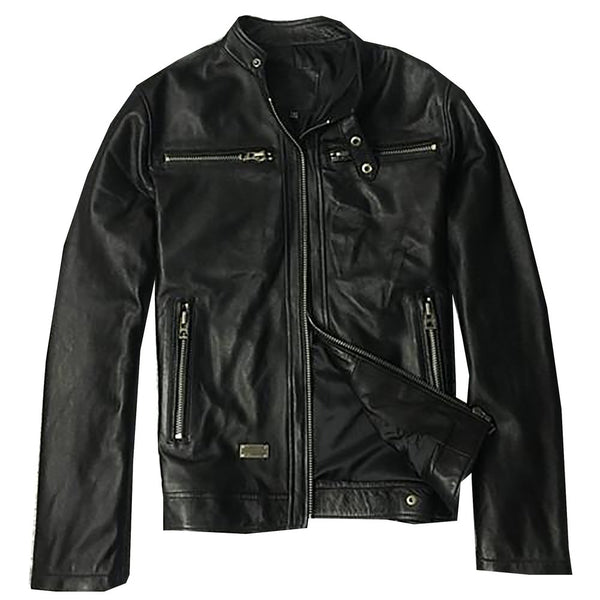 Factory Men Leather Jacket Genuine Real Sheep Goat Skin Brand Black Male Bomber Motorcycle Biker Man's Coat Autumn Spring