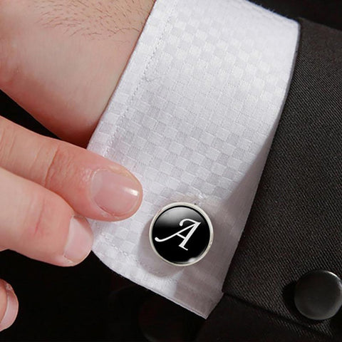 1 Pair Business White on Black Letters Men Suits Shirt Cuff Links Silver Plated Glass Cabochon Wedding Accessories