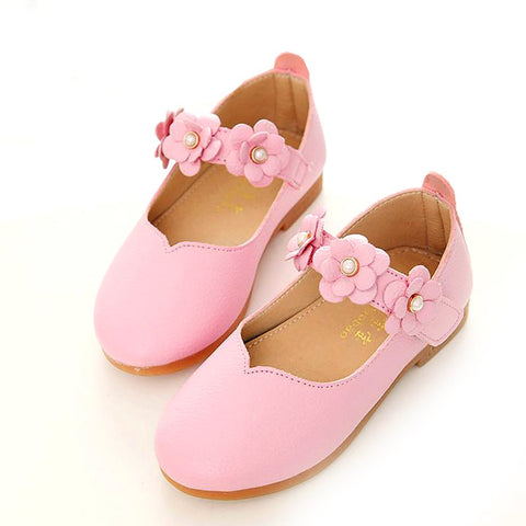 Girl's Casual Shoes Leather All-match Solid Autumn Flower Insole 13.3-18.5 cm