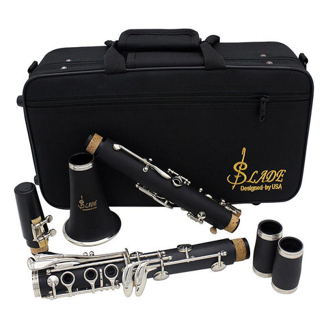 Clarinet ABS 17 Key BBFlat Soprano Binocular with Cleaning Cloth Gloves 10 Reeds Screwdriver Case Woodwind Instrument