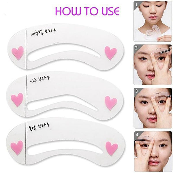 Waterproof Eyebrow Grooming Kit Set of 1 Automatic Eyebrow Liner and 3 Shaping Stencils