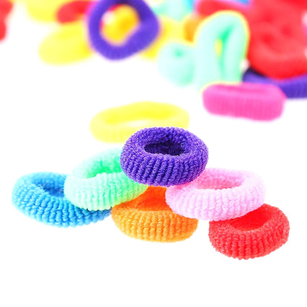 200 Pcs Colorful Child Kids Hair Holders Cute Rubber Band Elastics Accessories Girl Women Charms Tie Gum