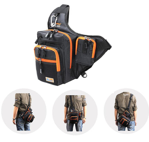 ILure Waterproof Canvas Fishing Bag Multi-Purpose Outdoor Reel Lure Bags Pesca Tackle Green/Orange/Black