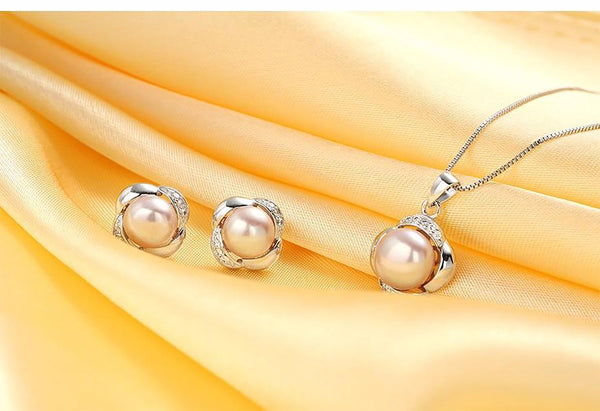 Women's 925 Sterling Silver Pearl Jewelry Set of Earrings and Necklace Gift Box
