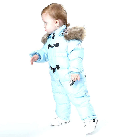 Unisex Baby's Snowsuit Winter Nature Fur 90% Duck Down
