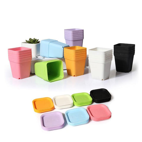 10pcs Mini Square Plastic Plant Flower Pot Home Office Decor Planter Colorful With Pots Trays Green Artificial